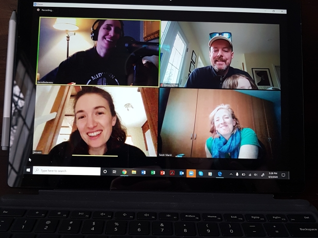 Danielle Deveau, David Harmes, Sarah Marsh, and Jen Vasic pictured on the screen of a laptop during a Zoom interview.